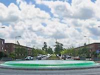 WATERBEKKEN, Rotterdam - Nesselande, waterbekken op rotonde bij Zevenhuizerplas, kunststof, leds, div. materialen, diameter 13 m,  2008