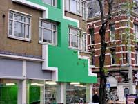 Krijn de Koning 'work for CBK (green)' - gevel en interieur - Nieuwe Binnenweg 75, Rotterdam